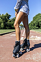 Spain, Gijon, legs of a teenage girl with roller skates - MGOF000985