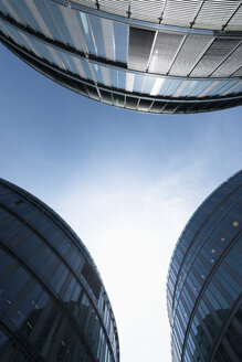 Germany, Cologne, three office buildings at Media Park seen from below - VIF000398
