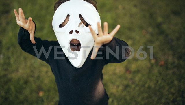 Girl masquerade with a mask standing on a meadow - MGOF000669 - Marco Govel/Westend61