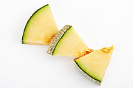 Three pieces of Galia Melon on white ground - CSF026393