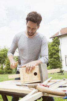 Man timbering a birdhouse - RBF003159