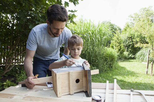 Father and son building up a birdhouse - RBF003240