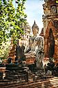 Thailand, Ayutthaya, view to ancient Buddha statue - EHF000236