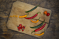 Different chili peppers on wood - LVF003890
