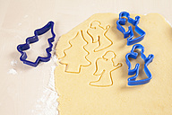 Christmas cookie cutters and dough - WIF002824