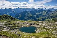 Germany, Bavaria, Allgaeu, Allgaeu Alps, Laufbichel lake, Hochvogel mountain in the background - WGF000728