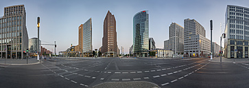 Germany, Berlin, Panoramic view of Potsdamer Platz during early morning - NKF000414
