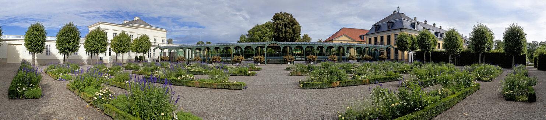 Germany, Lower Saxony, Hanover, Herrenhausen Gardens, Panorama of Baroque garden - KLR000177