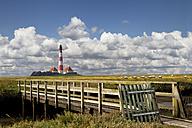 Germany, North Frisia, Westerhever, Westerheversand Lighthouse, wooden bridge - KLRF000187