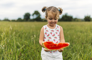 Little girl with slice of watermelon - MGOF000801