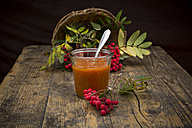 Wickerbasket, rowanberries and glass of rowanberry jam on dark wood - LVF003938