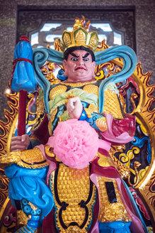 Thailand, Kanchanaburi, Statue of Guan Yu in a public temple - EH000255