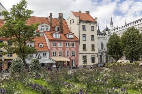 Latvia, Riga, Restaurants at Livu Square - MELF000080