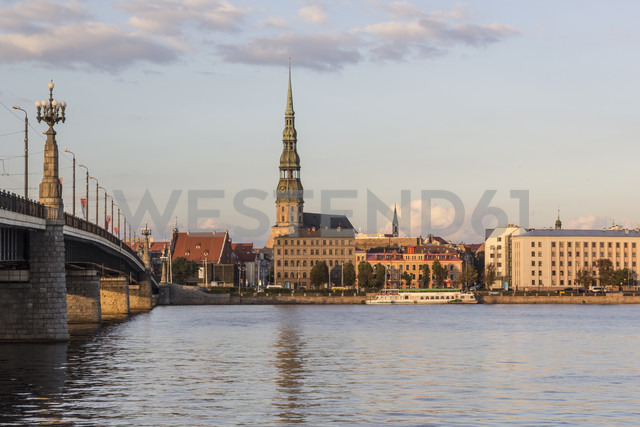 Latvia, Riga, View across the Daugava to St. Peter's church - MELF000086
