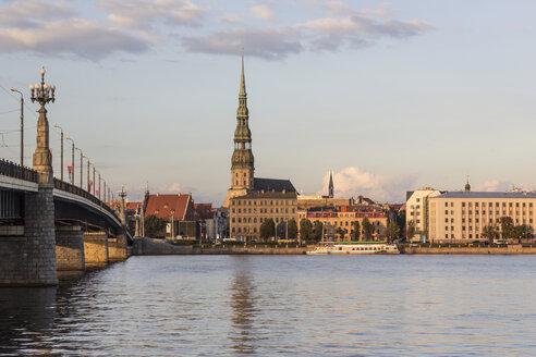 Latvia, Riga, View across the Daugava to St. Peter's church - MELF000086
