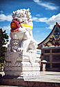 Thailand, Rock Lion in front of Chinese Shrine - EH000263