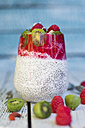 Glass of chia pudding with cocos, raspberry sauce and several fruits - SARF002166