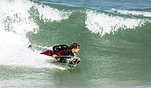 Spain, Asturias, Colunga, body board rider on the waves - MGOF000827