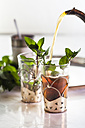 Pouring black tea into traditional North African tea glass with fresh mint leaves - SBDF002285