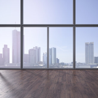 Empty room with wooden floor and view at skyline, 3D Rendering - UWF000626