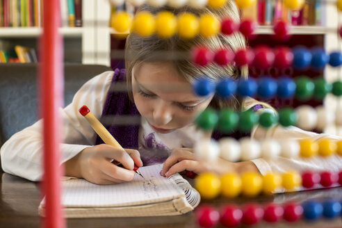 Girl sitting behind abacus doing homework - SARF002176