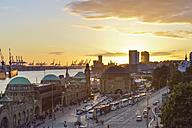 Germany, Hamburg, Port of Hamburg and St. Pauli Landing Stages at sunset - RJF000515