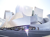 USA, Los Angeles, view to Walt Disney Concert Hall at backlight - SBD002303