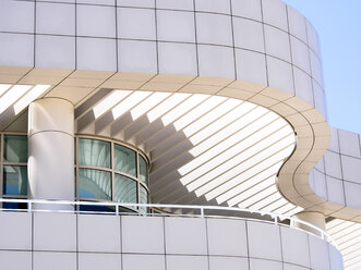 USA, Los Angeles, part of facade of Getty Center - SBD002315