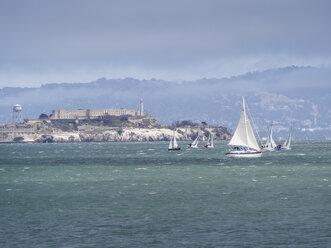 USA, San Francisco, sailing boats in front of Alcatraz island - SBDF002327