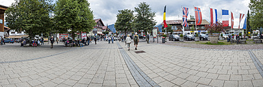 Germany, Bavaria, Oberstdorf, panoramic view from station square to the city - FR000339