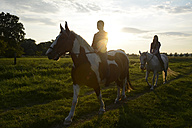 Young women riding in field at sunset - BFRF001561