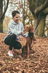 Woman giving her Vizsla dog a treat in park during autumn - MFF002456
