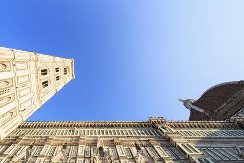 Italy, Florence, part of facade of Basilica di Santa Maria del Fiore and Campanile di Giotto - FOF008309