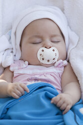 Portrait of sleeping baby girl with pacifier - ERLF000066