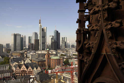 Germany, Frankfurt, cityscape with financial district and tower of the Frankfurt Cathedral - PC000197