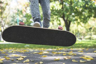 Boy with skateboard in park in autumn - DEGF000562