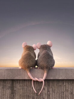 Two mice in love watching sunset, sitting on wall - AHUF000057