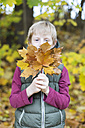 Boy holding bunch of autumn leaves - SARF002263