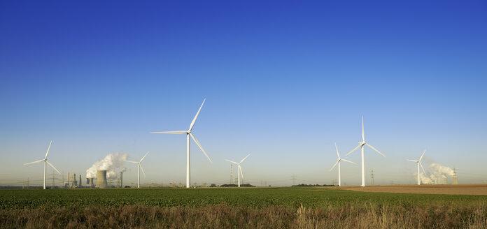 Germany, North Rhine-Westphalia, Neurath, Wind wheels and mining power plant - GUFF000158