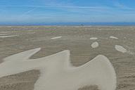 Germany, North Frisia, Westerhever, North Sea Coast, low tide, refuge beacon on sandbank - KEBF000273