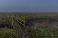 Germany, Schleswig-Holstein, North Sea Coast, Westerheversand Lighthouse, bridge and fog - KEBF000276