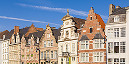 Belgium, Ghent, old town, Korenlei, row of historical houses - WDF003353