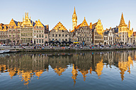 Belgium, Ghent, old town, Graslei, historical houses at River Leie - WDF003371