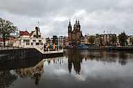 Netherlands, Amsterdam, View of Amstel and Sint-Nicolaaskerk - EVGF002488
