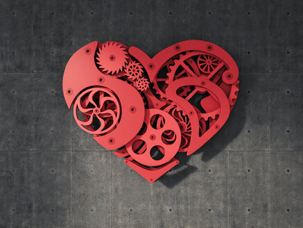Cogwheel heart hanging on concrete wall - AHUF000066