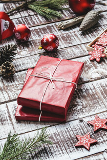 Red Christmas presents and Christmas decoration - AKNF000027
