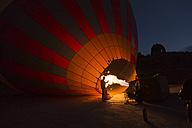 Turkey, Anatolia, Cappadocia, hot air ballon is being prepared - FC000792