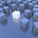 One white cube, blue cubes, 3D-Rendering - UWF000658