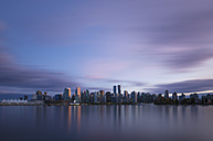 Canada, Vancouver, view to skyline at dusk seen from Stanley Park - SMAF000387