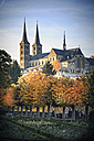 Germany, Bamberg, view to Michelsberg Abbey with rose garden in the foreground - VT000474